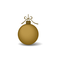 christmas tree ball with gold ribbon bow golden vector image