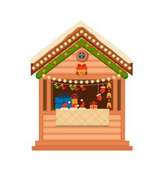 Christmas wooden souvenir kiosk vector