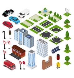 city isometric urban cityscape vector image