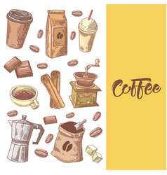coffee hand drawn doodle with coffee beans vector image