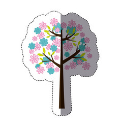 Color sticker silhouette with floral tree vector