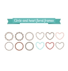 Colorful circle and heart floral frames vector