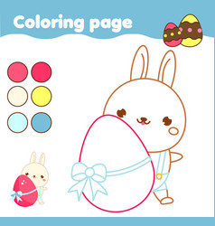 Coloring page with cartoon easter bunny drawing vector