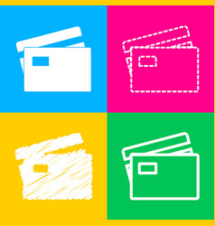 credit card sign four styles of icon on four vector image