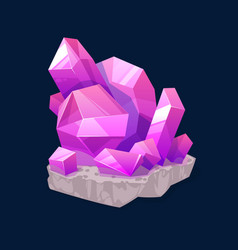 Crystal gem pink magic rhinestone isolated icon vector