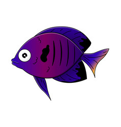 cute blue sea-fish in cartoon style vector image