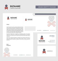 danger business letterhead envelope and visiting vector image