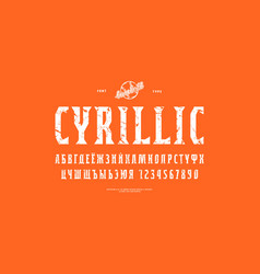 decorative cyrillic narrow serif font vector image