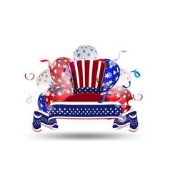 Element american flag decor 4th july vector