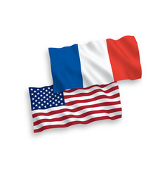 flags of france and america on a white background vector image