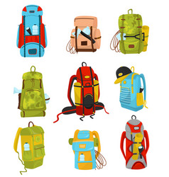 flat set of colorful hiking backpacks with vector image