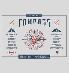 font compass craft retro vintage typeface design vector image