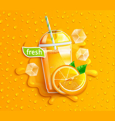 fresh orange juice with ice and fruits vector image