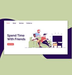 Friends leisure landing page templates set vector