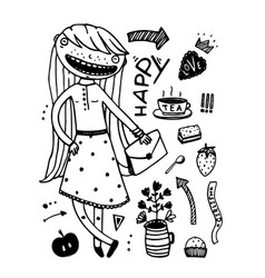 girlish fashion cartoon design outline elements vector image