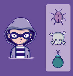 Hacker with cybercrimes and virus symbols vector