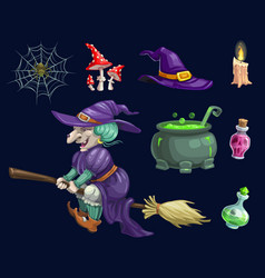 halloween holiday party witch design vector image