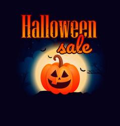 halloween pumpkins under the moonlight vector image