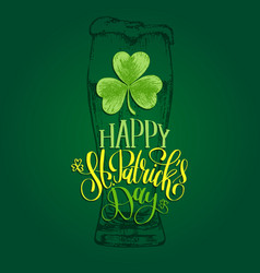 happy saint patricks day hand lettering vector image