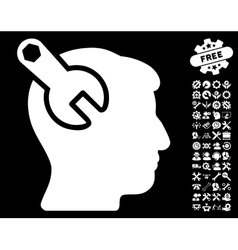 Head Neurology Wrench Icon with Tools Bonus vector
