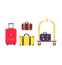 Icons of bags and suitcases with hotel cart vector
