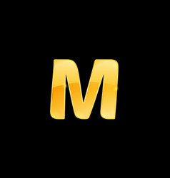 initial letter m with metallic texture trendy 3d vector image