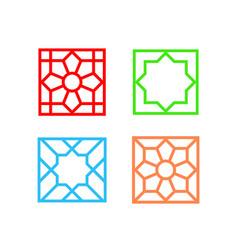 Islamic square tile pattern on white art vector
