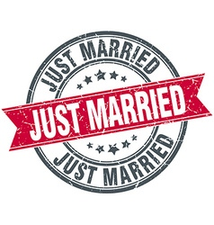 Just married red round grunge vintage ribbon stamp vector