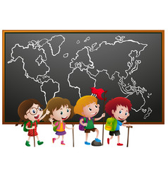 Kids with hiking stick and worldmap on board vector