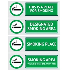 labels set smoking place stickers vector image vector image