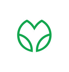 Letter m simple geometric line leaf logo vector