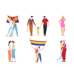 Lgbt people characters homosexual and lesbian vector