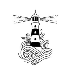 lighthouse among waves vector image