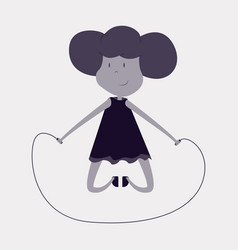 little girl playing skipping rope vector image