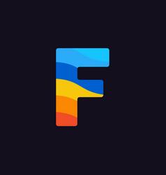 logo letter f colorful blue red orange vector image