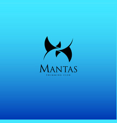 Mantas swimming or diving club logo vector