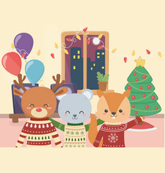 merry christmas celebration cute bear deer and vector image
