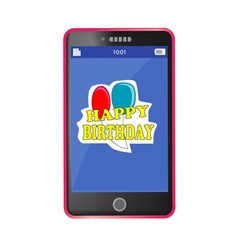 Mobile sticker happy birthday message vector