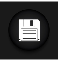 Modern diskette black circle icon vector