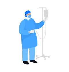 Nurse checking a saline drip iv therapy medical vector