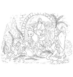 Palm sunday jesus christ coloring page vector
