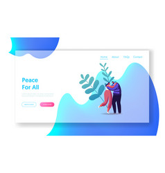 peace love relation togetherness landing page vector image