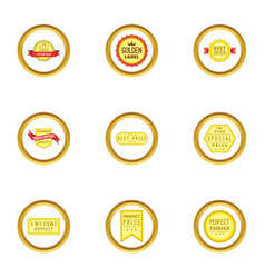 prize icons set cartoon style vector image