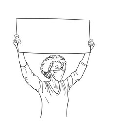 protest african american woman in medical face vector image