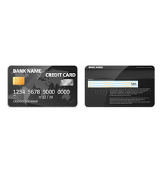 realistic detailed black bank credit card with vector image