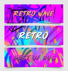 retro futurism flyer set futuristic synth vector image