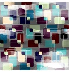 Retro geometric pattern on gray pixels background vector