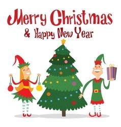 Santa Claus kids cartoon elf helpers vector