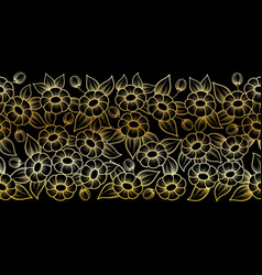seamless gold outline full floral brush vector image