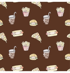 Seamless of fast food cat vector image